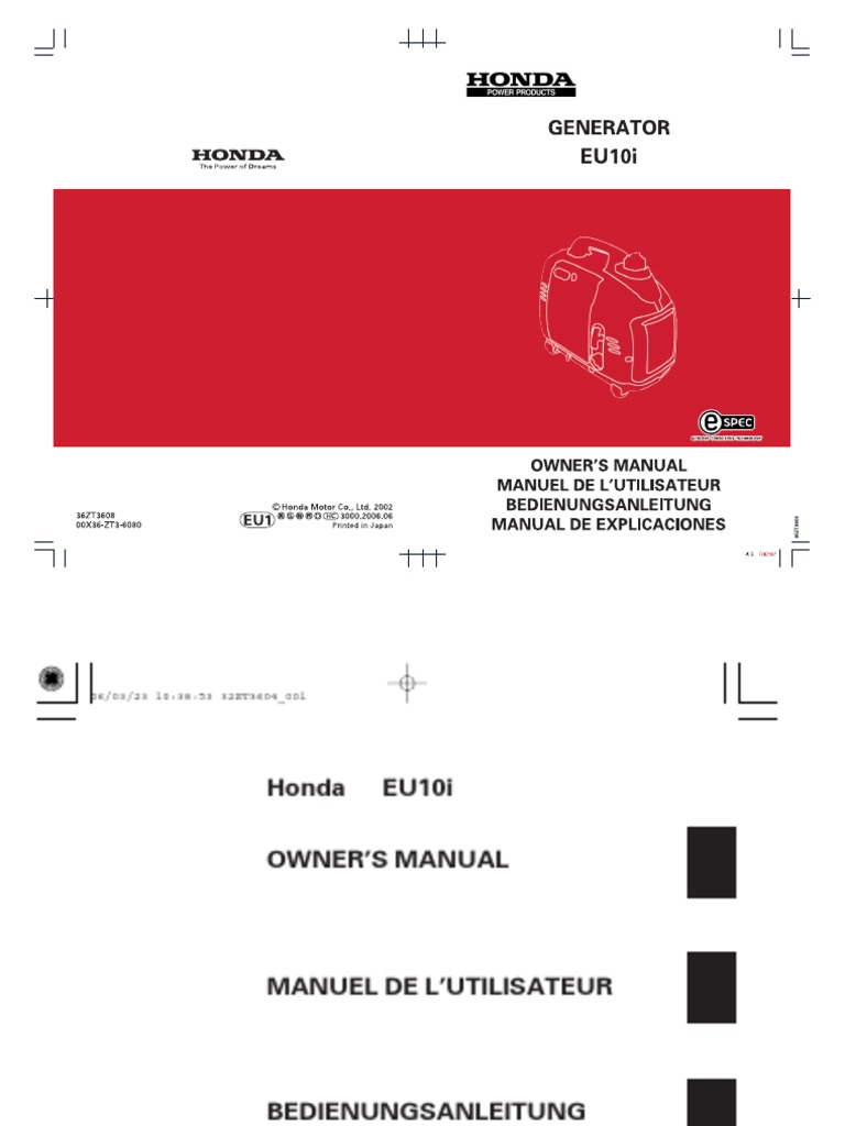 eu10i gasoline carburetor rh scribd com Honda Motorcycle Service Manual Honda GX340 Service Manual