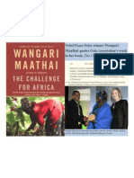 "Nobel Peace Prize Winner Wangari Maathai Quotes Gaias Work in ""The Challenge for Africa"""
