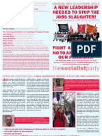 Socialist Party UNISON NEC Elections leaflet