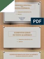 Metodologia Científica (Trabalho Expositivo e Artigo)