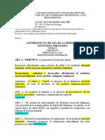 ANTEPROYECTO DE LA LEY DEL EJERCICIO DE MEDICINA TRADICIONAL