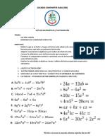 GUIA DE MATEMÁTICAS - FACTORIZACIÓN