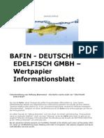 Bafin - Deutsche Edelfisch Gmbh – Wertpapier Informationsblatt