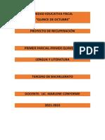 PROYECTO DE RECUPERACIÓN LENGUA Y LITERATURA 3 D 2021