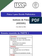 APRESENTAÇÃO CURSO FISICA 1 POLI USP