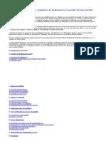 Résumé des principales obligations du Règlement sur la qualité de l