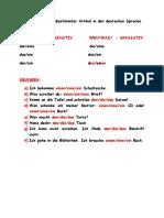 Bestimmter Und Unbestimmter Artikel in Der Deutschen Sprache