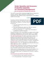 Models for Inventory Management - Economic Order Quantity and Economic Production Quantity
