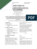 LAB 10 INERCIA ROTACIONAL DE UNA PLATAFORMA INFORME - ALEJANDRA SAAVEDRA