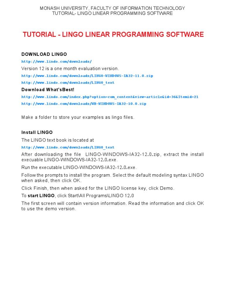 Tutorial Lingo Linear Programming Software