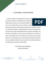 Nota de Prensa Ayuntamiento de Batres