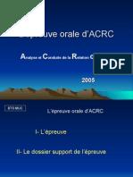 Epreuve orale d'ACRC