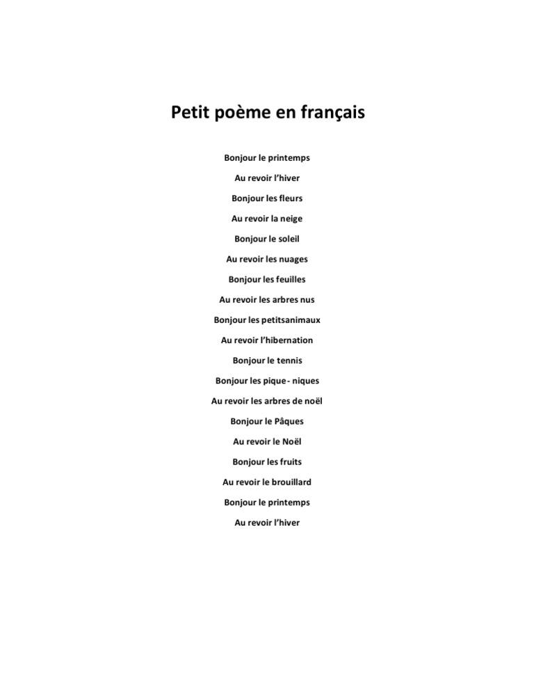 Petit Poème En Français