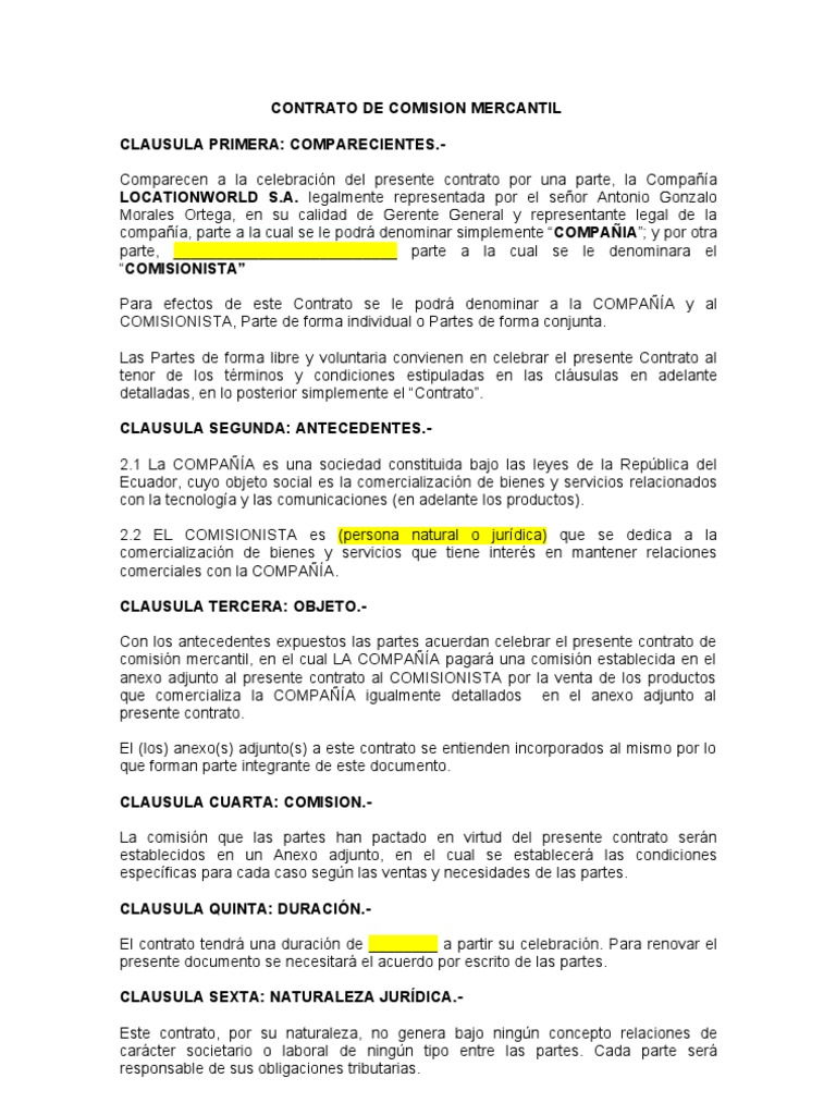 Contrato Modelo Comision Mercantil Lw 30 3 11