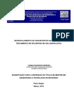 Desenvolvimento de Adsorventes Naturais para Tratamento de Efluentes de Galvanoplastia