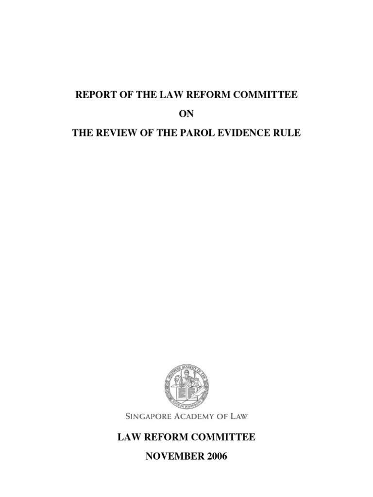 Parolevidencefinalreport Parol Evidence Rule Evidence Law
