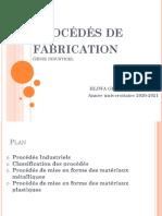 Partie1&2 Procédés de fabrication