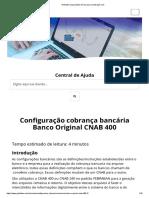 Configuração Cobrança Bancária Banco Original CNAB 400