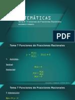 Matematicas Tema 7 Funciones de Fracciones Racionales - 2021