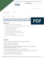 Inscripción Para El Permiso de Operación de Vehículos Para Servicio de Transporte Publico Regular Urbano _ Municipalidad Provincial de Chachapoyas