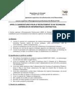 Appel à Candidature Recrutement Technicien en Informatique (6)