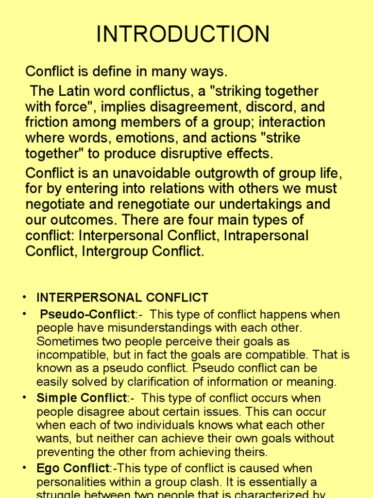 4 main types of conflict