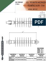 Isolador Tipo Bastão Ancoragem Polimérico 34,5KV_70 KN