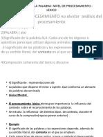 COMPRESION DE LA PALABRA- NIVEL DE PROCESAMIENTO -