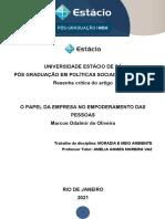 2021 - RESENHA CRITICA ( REVISADA) - MEIO AMBIENTE - PÓS GRADUAÇÃO - MARCOS - FEVEREIRO