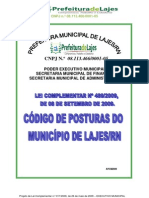 LEI COMPLEMENTAR N.º 489-2009 - CÓDIGO DE POSTURAS DE LAJES 2009