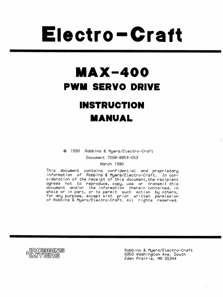 electro craft max 400 pwm servo drive instruction manual
