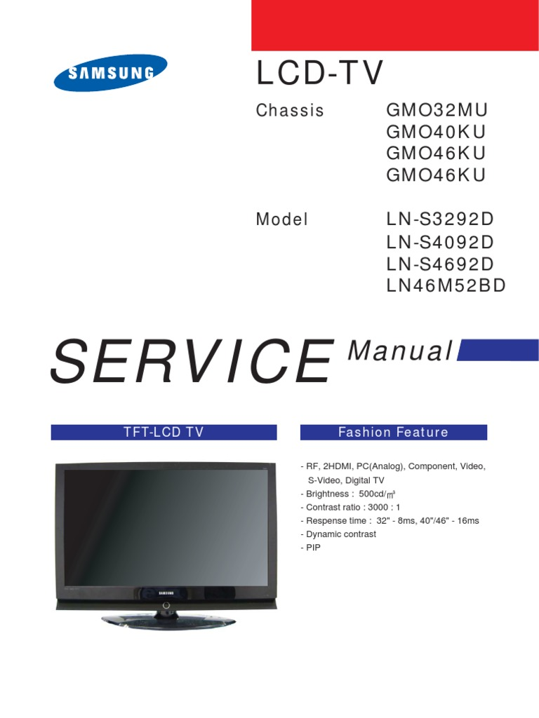 SERVICE MANUAL LN-S4692D LNS4692D CHASSIS GM046KU | Electrostatic