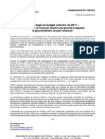 L'AFO réagit au budget ontarien de 2011