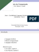 4 - Decidibilidade - Linguagens Decidíveis