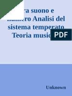 Fra Suono e Numero Analisi Del Sistema Temperato Teoria Musicale