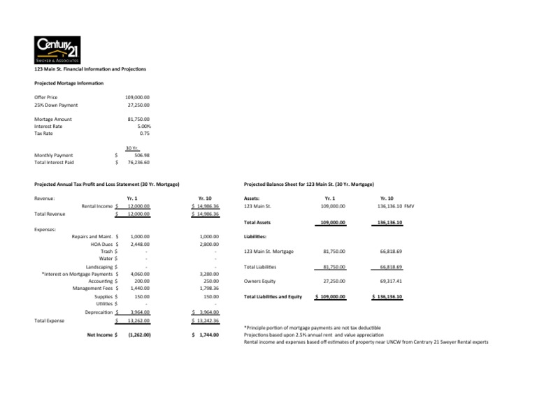 Rental Property Income Statement And Balance Sheet - Investment property business plan template