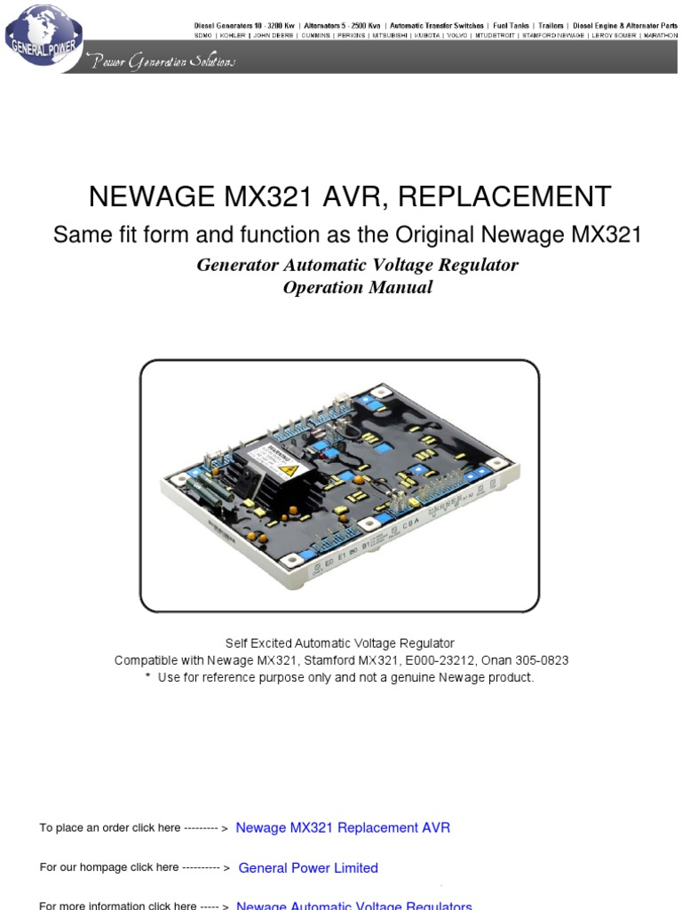 mx321 avr wiring diagram mx321 image wiring diagram newage mx321 automatic voltage regulator electric generator on mx321 avr wiring diagram