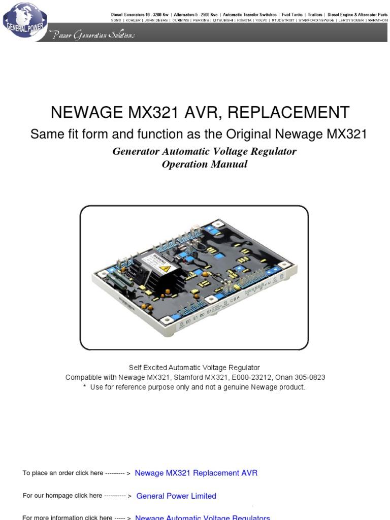newage-mx321-automatic-voltage-regulator | electric generator |  electromagnetism