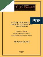ANÁLISE ESTRUTURAL DA INSERÇÃO ECONOMICA DE MINAS GERAIS