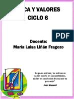 ETICA Y VALORES CICLO 6 MARIA LUISA LIÑAN