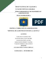 Baja Producción y Productividad Del Cultivo de Quinua en La Región Cajamarca