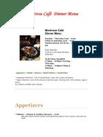 Montrose Caf   Dinner Menu