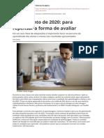 Fechamento de 2020 para repensar a forma de avaliar