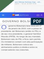 Resumo governo golpista de Bolsonaro
