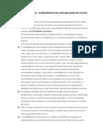 Resolução da lista 1-FUNDAMENTOS DA CONTABILIDADE DE CUSTOS
