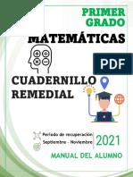 1° MATEMATICAS- CUADERNILLO  REMEDIAL - ALUMNO