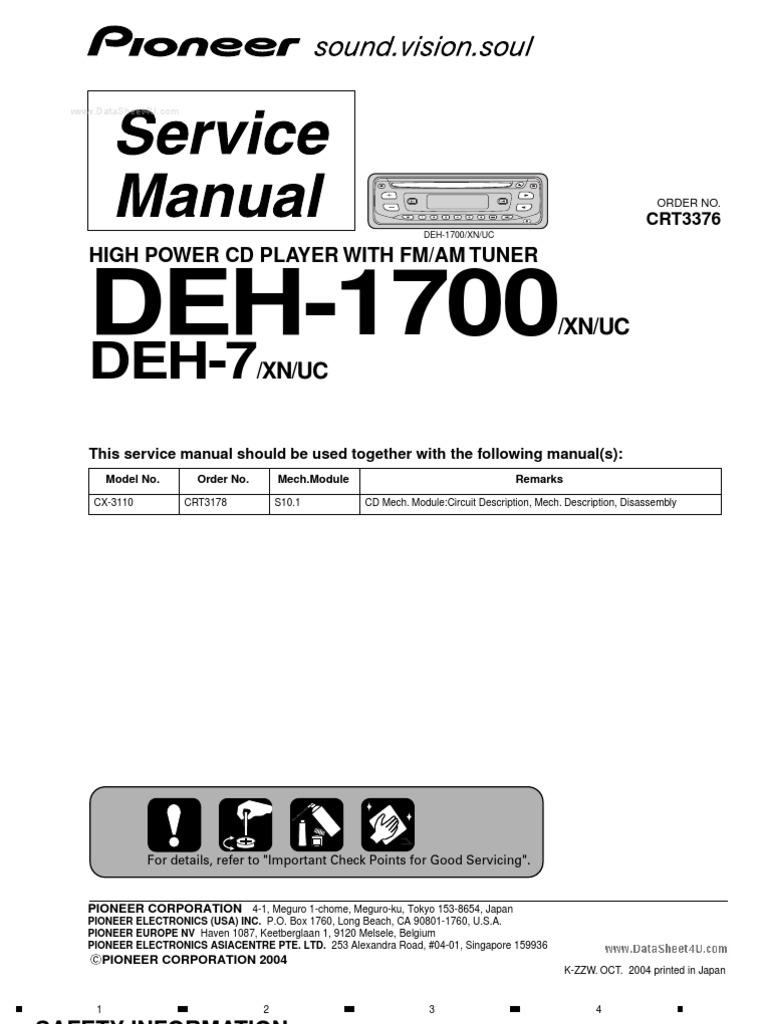 Deh P1700mp Xn Un Electrical Connector Equipment Pioneer 1700 Wiring Diagram