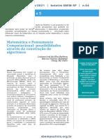 Matemática e Pensamento Computacional - possibilidades através da construção de algoritmos