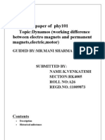Topic:Dynamos (working difference between electro magnets and permanent  magnets,electric,motor)