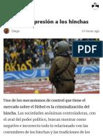 Contra La Represión a Los Hinchas – Revista Obdulio